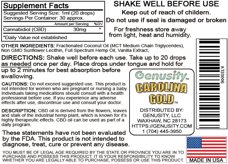Carolina Gold Supplement Facts
